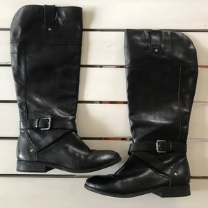 Marc Fisher Tall Leather Black Boots Sz 7.5